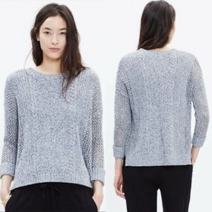 Madewell Marled Plaza Cableknit Sweater SM Gray